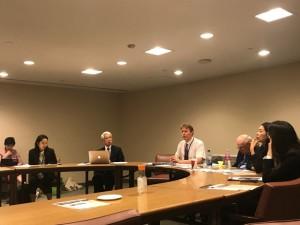 超党派の議員連盟である「核軍縮・不拡散議員連盟(PNND)」が国連本部内で開いたサイドイベントの様子。2019年5月1日、国連本部第3会議室。