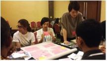 国際ワークショップで、被爆体験について語る、広島のNGOメンバー(右側の二名)